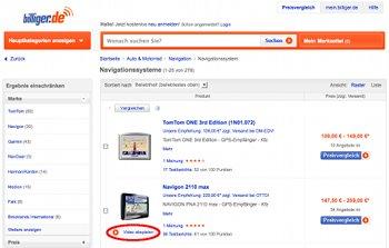 Shop-Suche bei Billiger.de