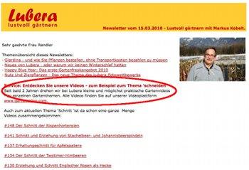 Hinweis auf Ratgeber-Videos im Lubera-Newsletter