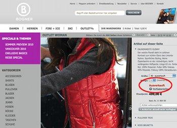 Artikelseite im Bogner-Shop