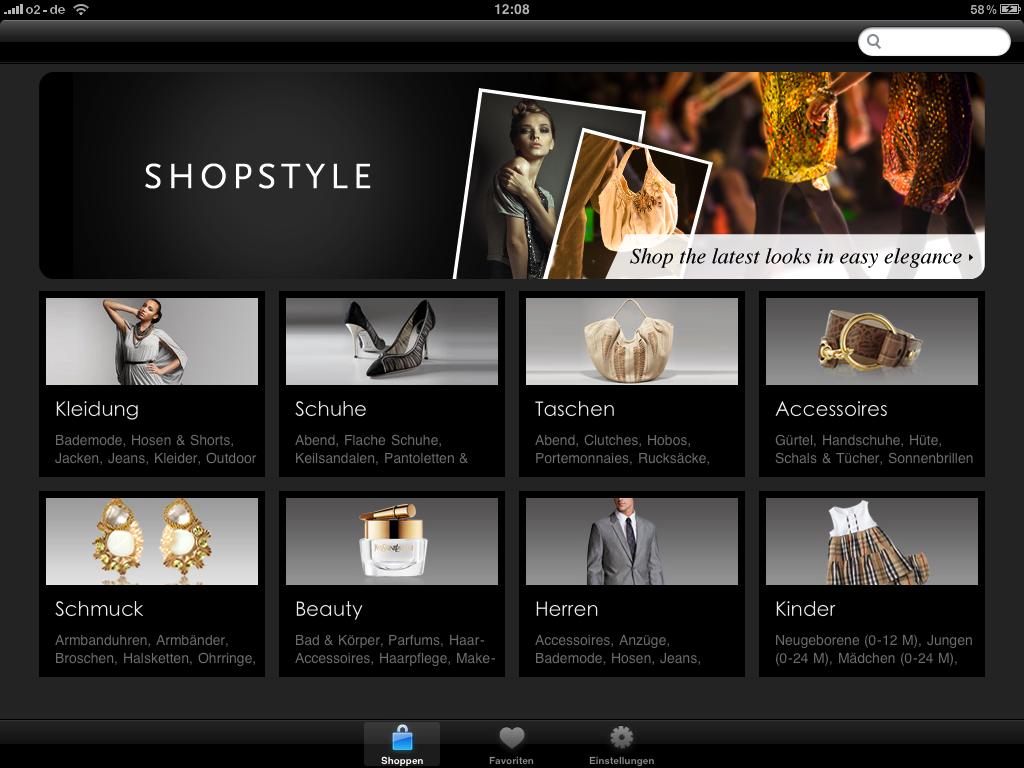 iPad App von ShopStyle