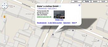 Google Maps Ansicht einer Mode-Boutique