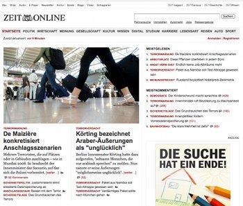 Zeit Online auf dem Desktop