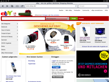 eBay-Website auf dem iPad