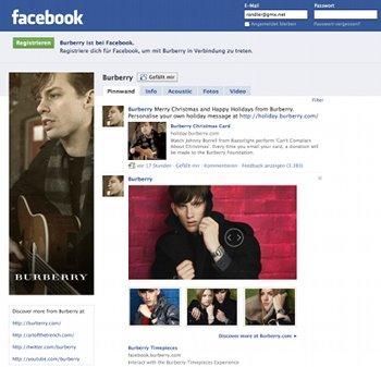 Facebook-Fanpage von Burberry